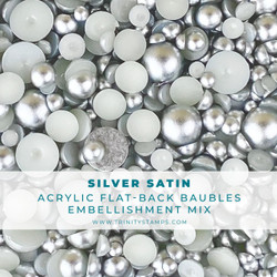 Silver Satin Baubles, Trinity Stamps Embellishments -