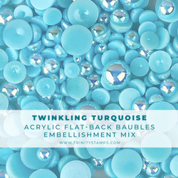 Twinkling Turquoise Baubles, Trinity Stamps Embellishments -