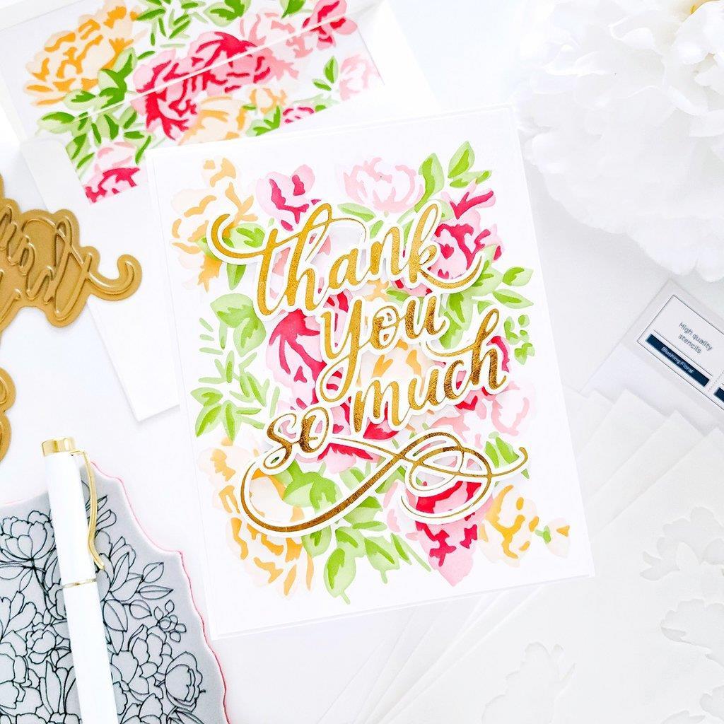 Blushing Florals, Pinkfresh Studio Stencils -