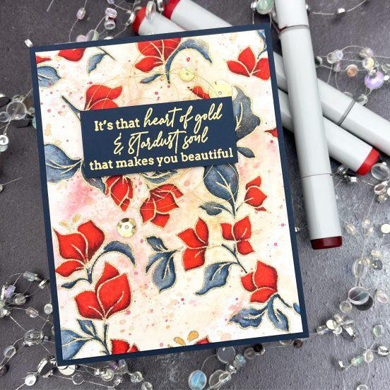 Bougainvillea Print, Pinkfresh Studio Cling Stamps -