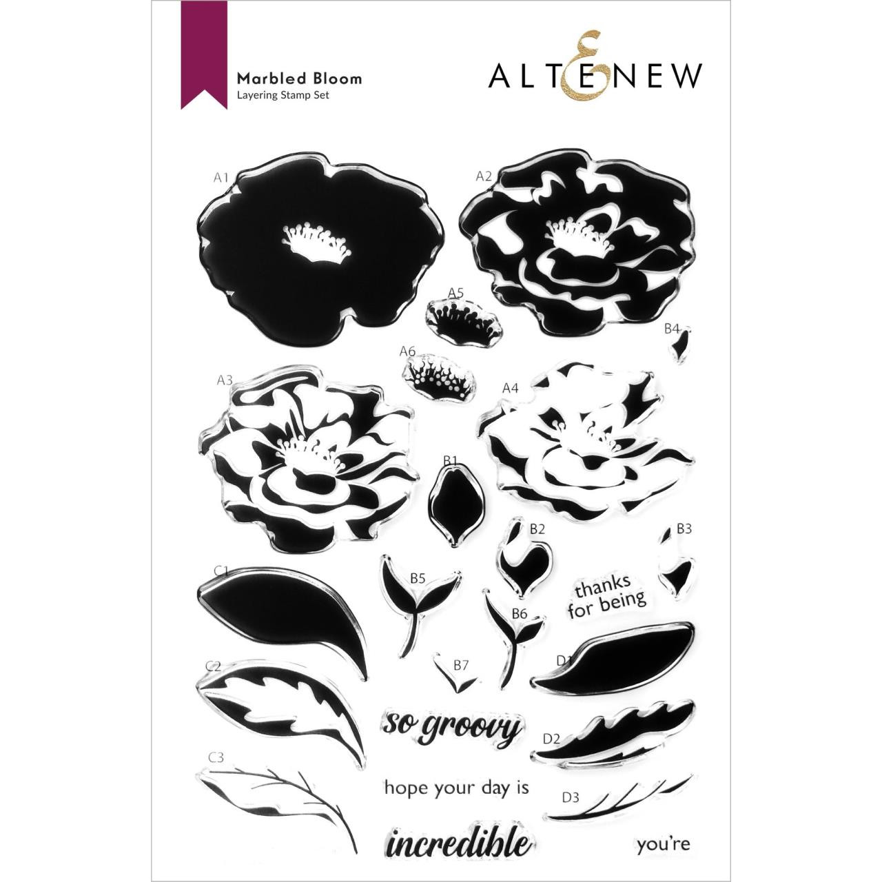 Marbled Bloom, Altenew Clear Stamps -