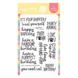 Pawsome Birthday Sentiments, Waffle Flower Clear Stamps -