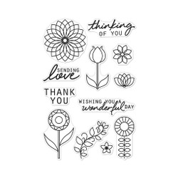 Line Art Flowers, Hero Arts Clear Stamps -