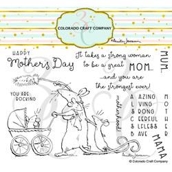 Amazing Mom by Anita Jeram, Colorado Craft Company Clear Stamps -