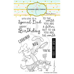 Dad's Cooking by Anita Jeram, Colorado Craft Company Clear Stamps -
