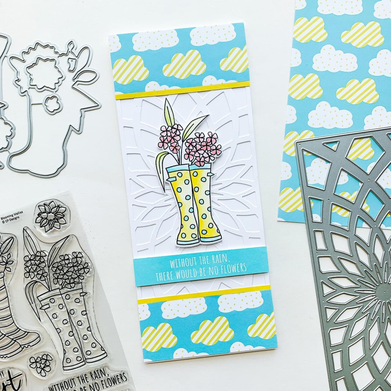 A Little Drizzle Slimline, Catherine Pooler Patterned Paper -