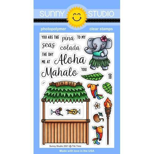 Tiki Time, Sunny Studio Clear Stamps -