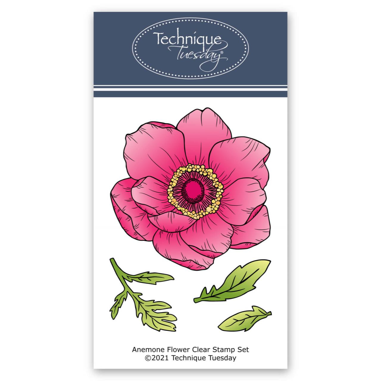 Anemone Flower, Technique Tuesday Clear Stamps -