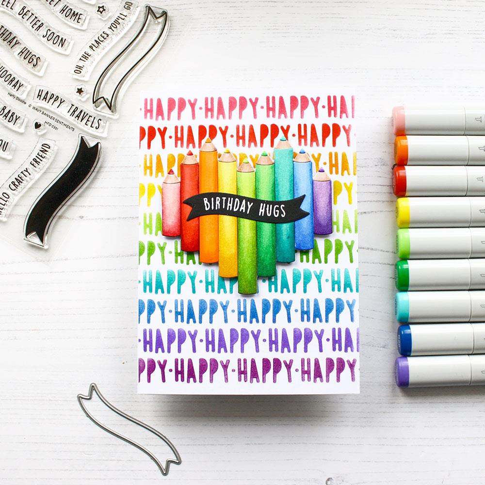 Wavy Banner Sentiments, Heffy Doodle Clear Stamps -