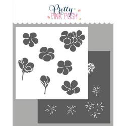 Geraniums - 2 pack, Pretty Pink Posh Stencils -