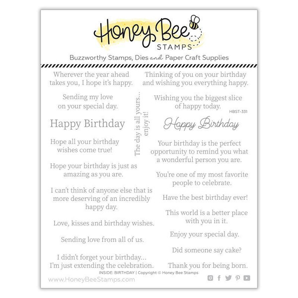 Inside: Birthday Sentiments, Honey Bee Clear Stamps -