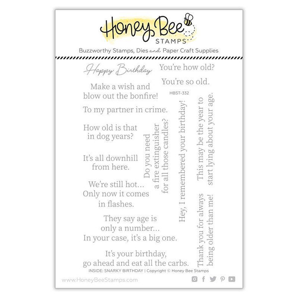 Inside: Snarky Birthday Sentiments, Honey Bee Clear Stamps -