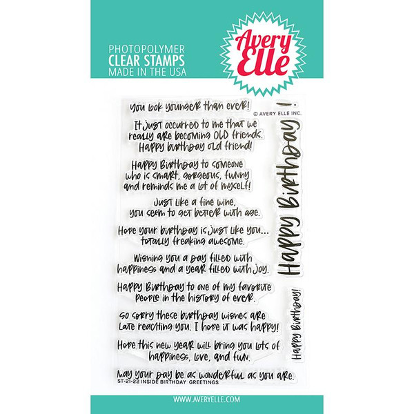 Inside Birthday Greetings, Avery Elle Clear Stamps -