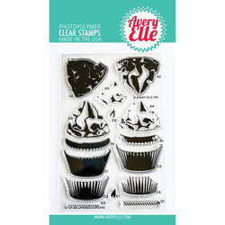 Layered Cupcake, Avery Elle Clear Stamps -