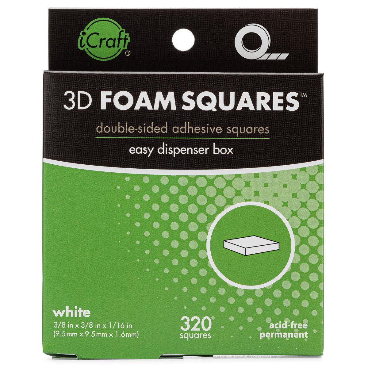 iCraft 3D Foam Squares - White -