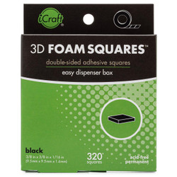 iCraft 3D Foam Squares - Black -