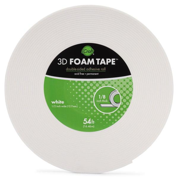 iCraft 3D Foam Tape Jumbo Roll - White 1/8 in. -