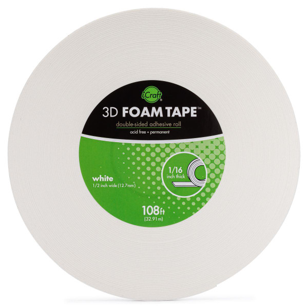 iCraft 3D Foam Tape Jumbo Roll - White 1/16 in. -