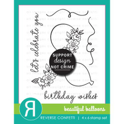 Beautiful Balloons, Reverse Confetti Clear Stamps -