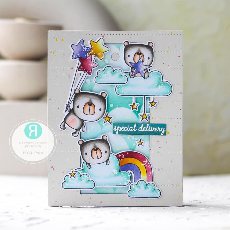 The Bear Up There, Reverse Confetti Clear Stamps -