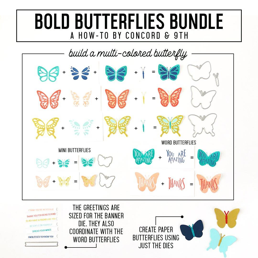 Bold Butterflies, Concord & 9th Clear Stamps -