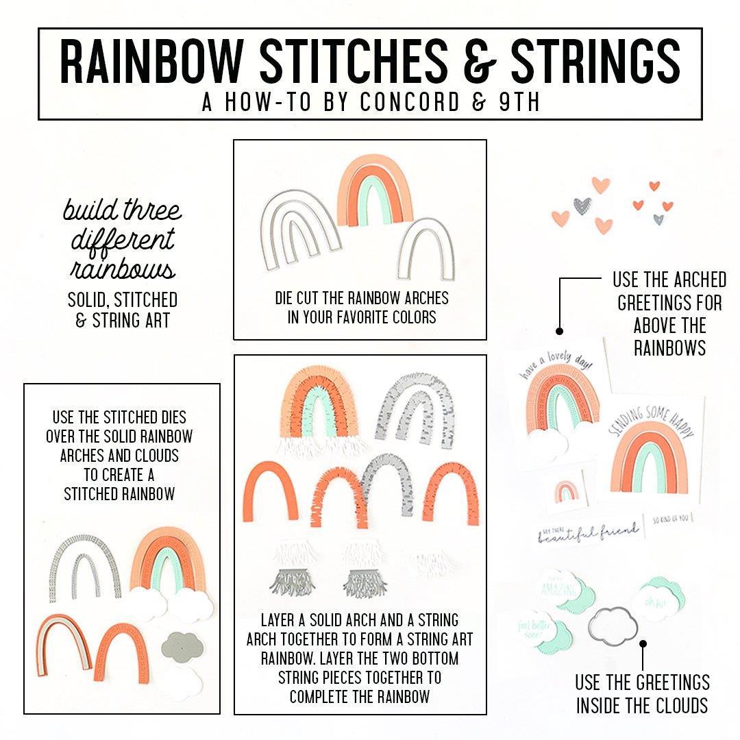 Rainbow Stitches & Strings, Concord & 9th Dies -