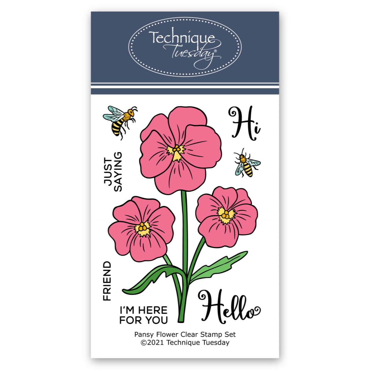 Pansy Flower, Technique Tuesday Clear Stamps -