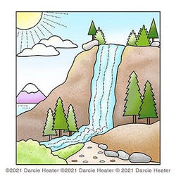 Waterfall Scene, Darcie's Clear Stamps -