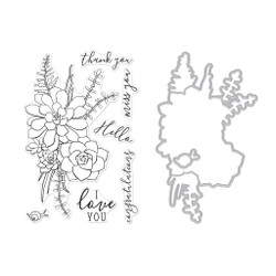 Succulent Bouquet, Hero Arts Stamp and Die Combo -