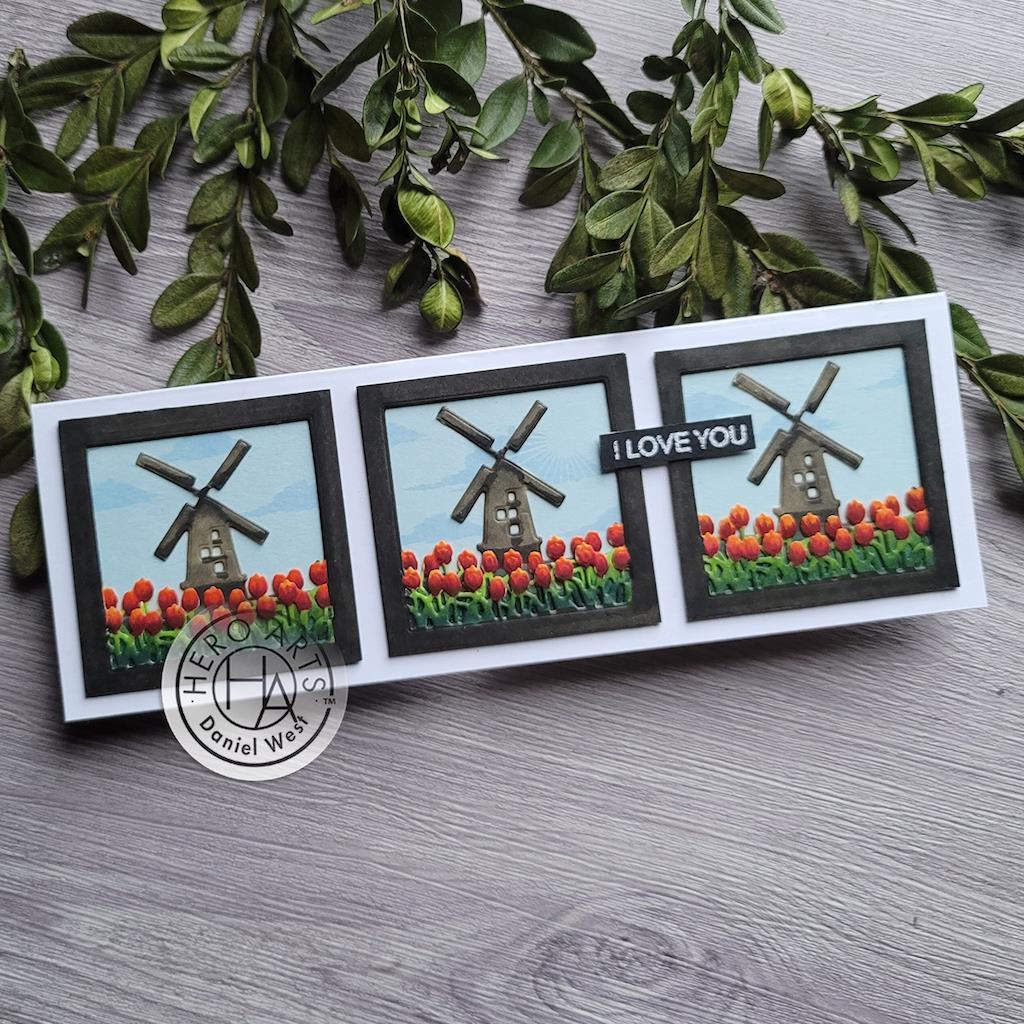 Looking Glass Windmill Tulips, Hero Arts Dies -