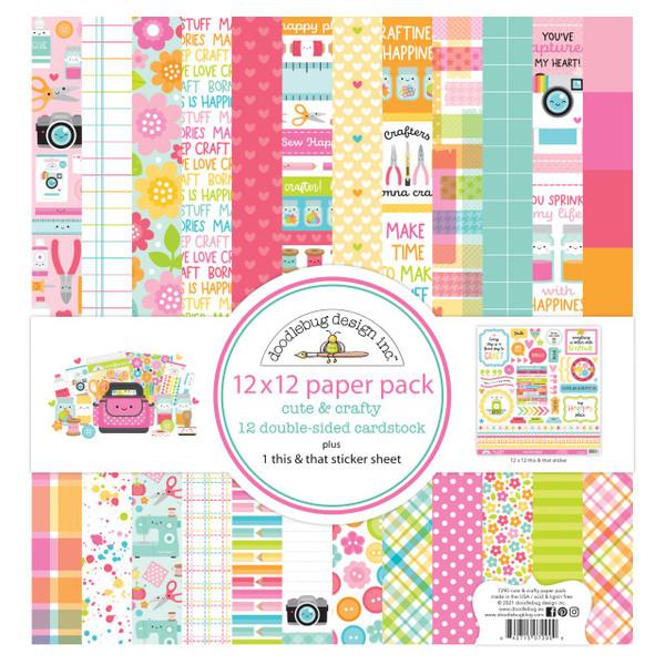 Cute & Crafty, Doodlebug 12 X 12 Paper Pack -