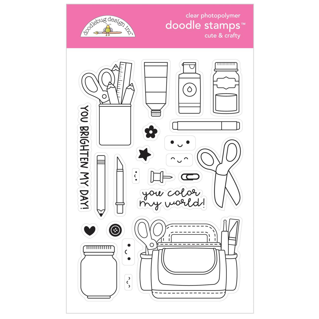 Cute & Crafty, Doodlebug Clear Stamps -