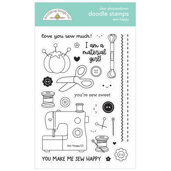 Sew Happy, Doodlebug Clear Stamps -