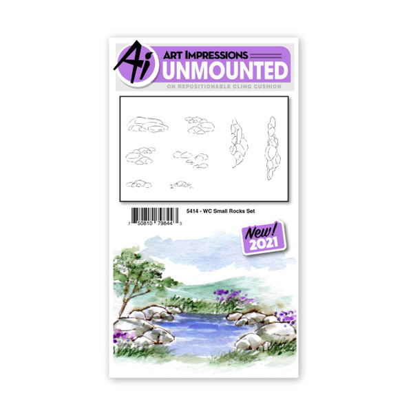 Watercolor Small Rocks, Art Impressions Cling Stamps -