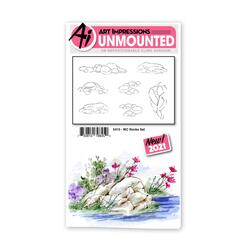 Watercolor Rocks, Art Impressions Cling Stamps -