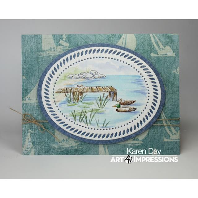 Watercolor Pond, Art Impressions Cling Stamps -