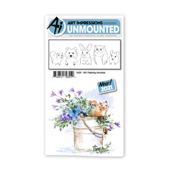 Watercolor Peeking Animals, Art Impressions Cling Stamps -
