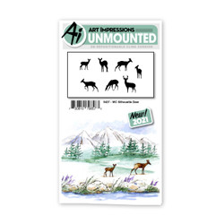 Watercolor Silhouette Deer, Art Impressions Cling Stamps -