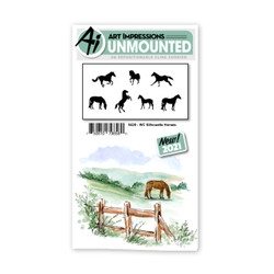 Watercolor Silhouette Horses, Art Impressions Cling Stamps -