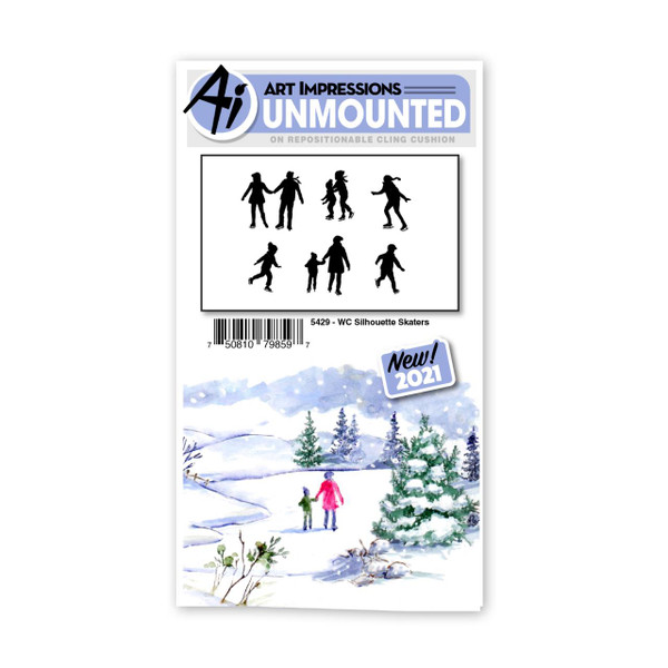 Watercolor Silhouette Skaters, Art Impressions Cling Stamps -