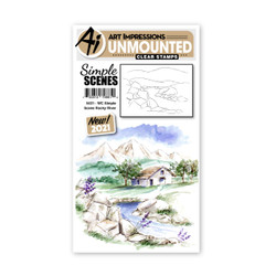 Watercolor Simple Scene Rocky River, Art Impressions Cling Stamps -