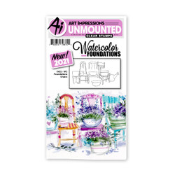 Watercolor Foundations Chairs, Art Impressions Cling Stamps -