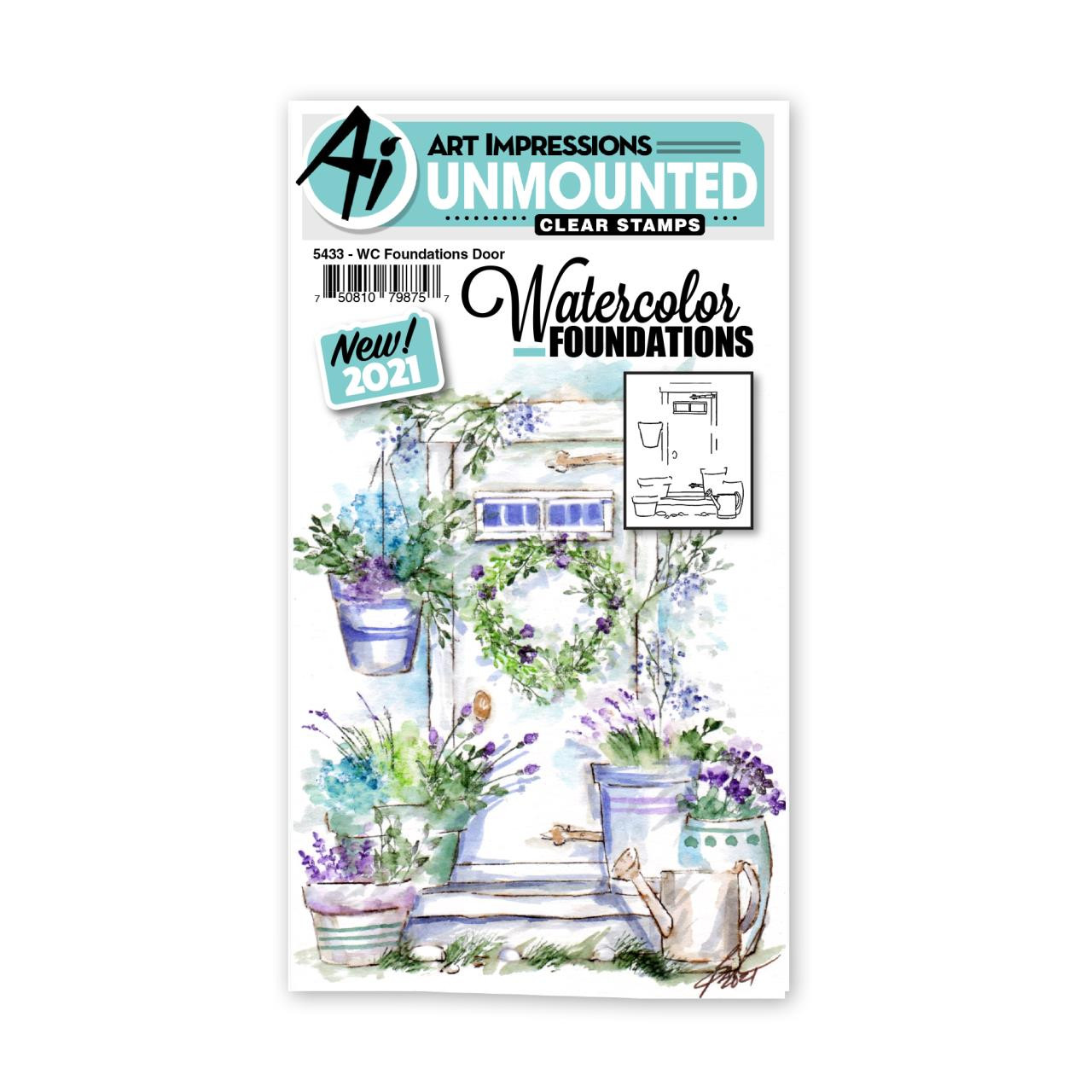 Watercolor Foundations Door, Art Impressions Cling Stamps -