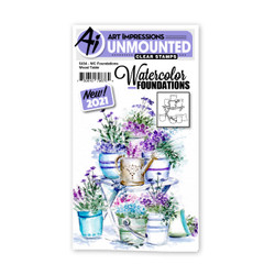 Watercolor Foundations Wood Table, Art Impressions Cling Stamps -