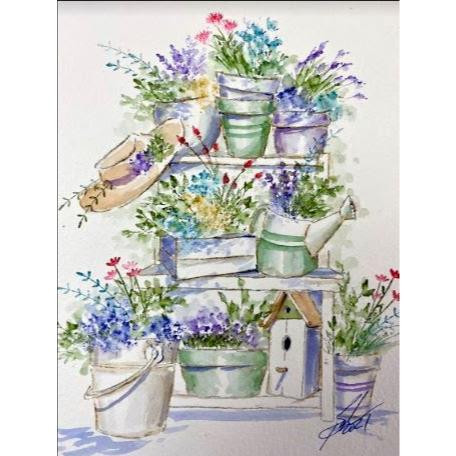 Watercolor Foundations Potting Bench, Art Impressions Cling Stamps -