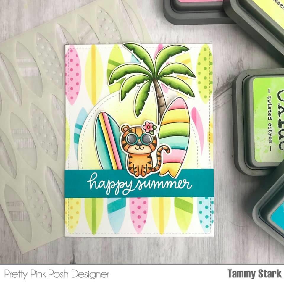 Layered Surfboards, Pretty Pink Posh Stencils -