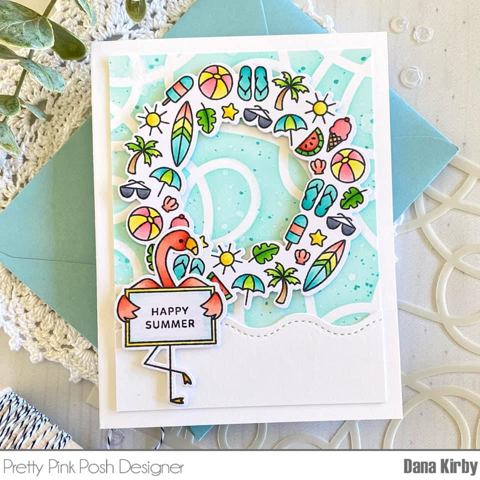 Summer Wreath, Pretty Pink Posh Clear Stamps -