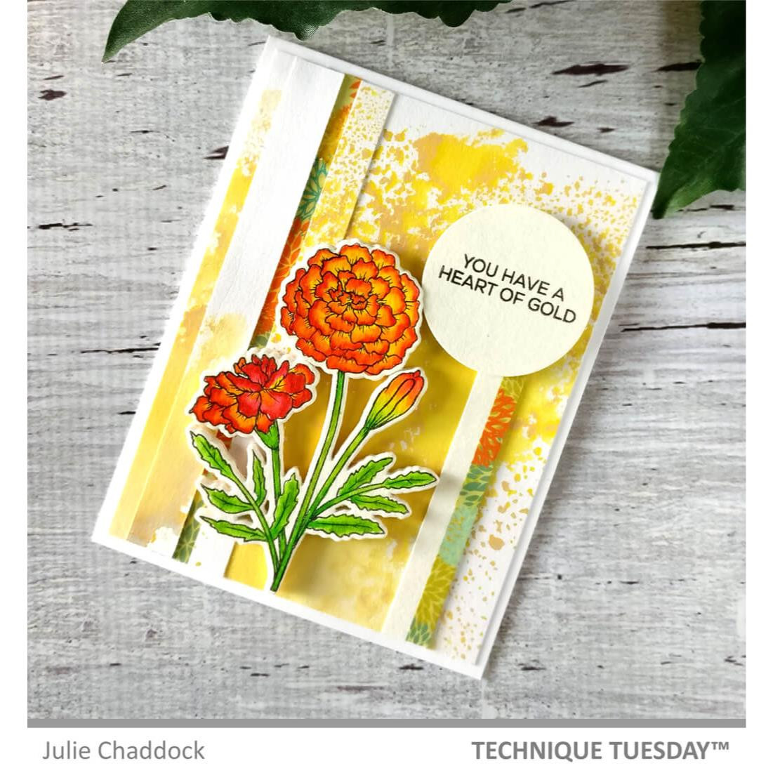 Marigold Flower, Technique Tuesday Clear Stamps -