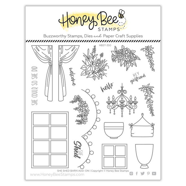 She Shed Barn Add-on, Honey Bee Clear Stamps -