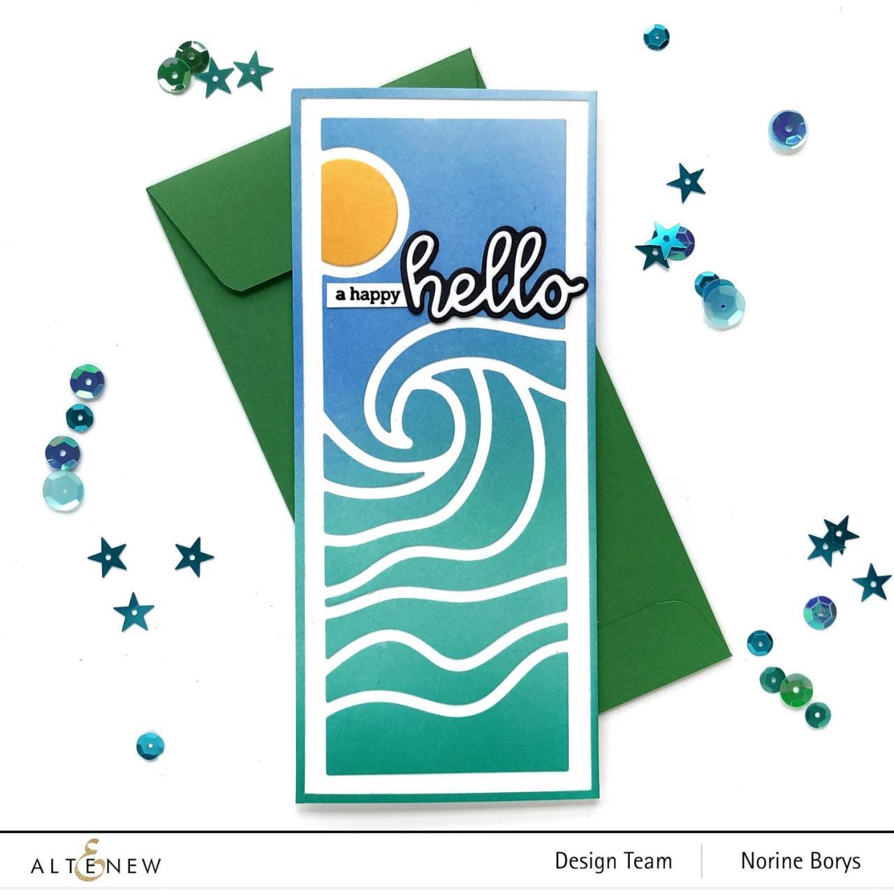 Abstract Seascape Slim Cover, Altenew Dies -